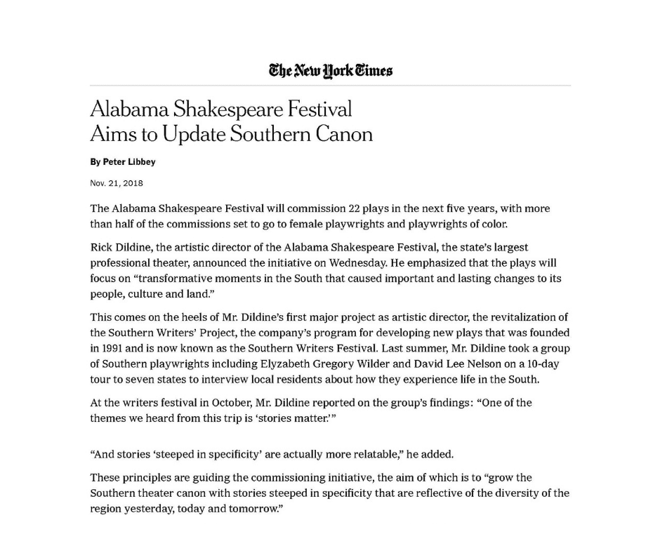 Alabama Shakespeare Festival Aims to Update Southern Canon
